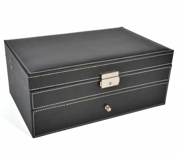 2 Tier 6 Slot Watch Storage Box Case + Jewelry Compartment Drawer with Mirror