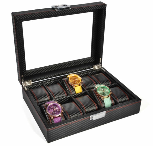 10 Slots Full Carbon Fiber Watch Storage Box.