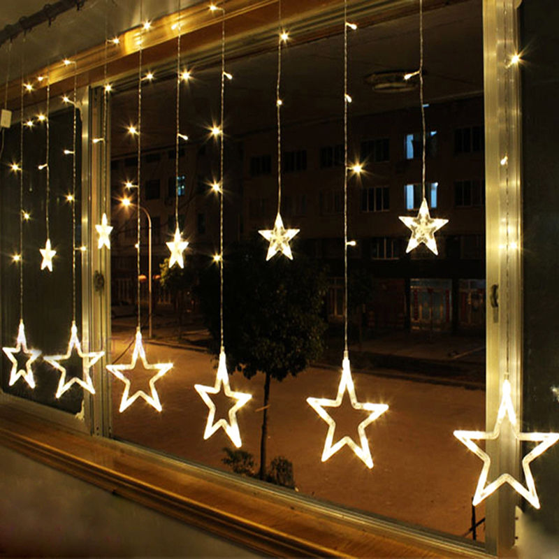 8 Modes - 3 Meter 12 Stars Curtain Lights Power Point, Warm White - Starzdeals