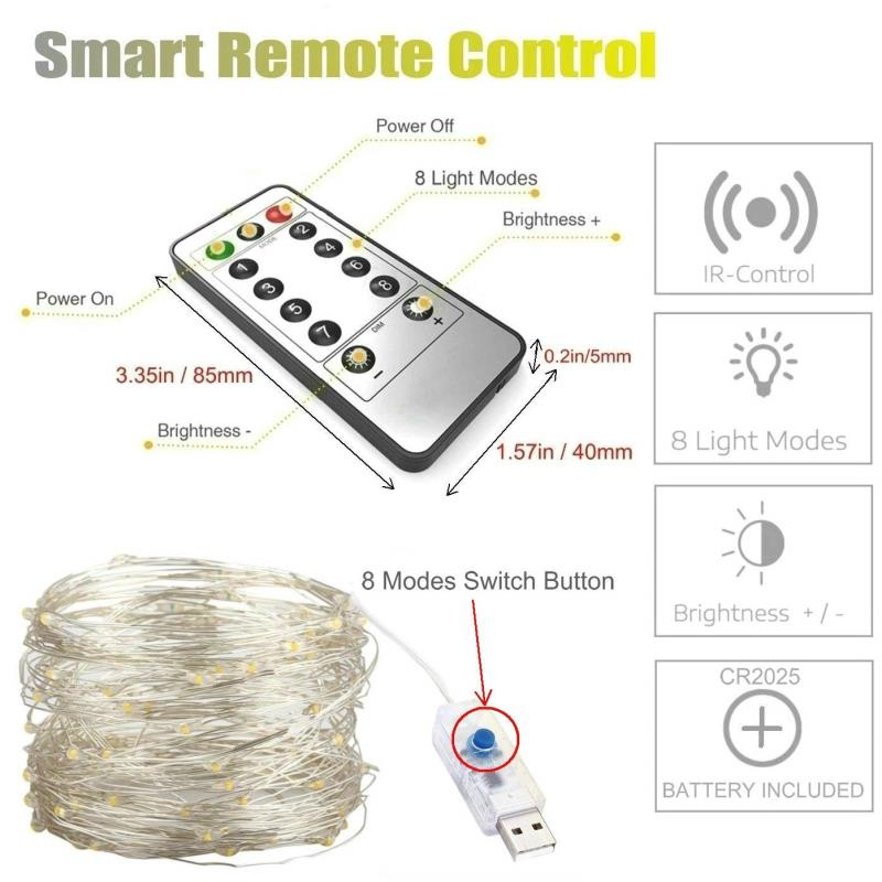 10 Meters 100 Led USB Silver Wire with 8 Modes + Remote Control, Warm White