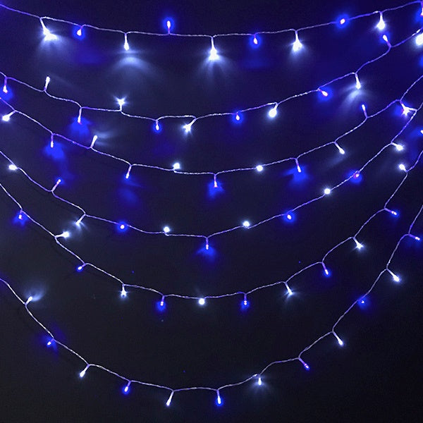 8 Modes - 10 Meter 100 Led Fairy String Light Power Point , Pure White + Blue