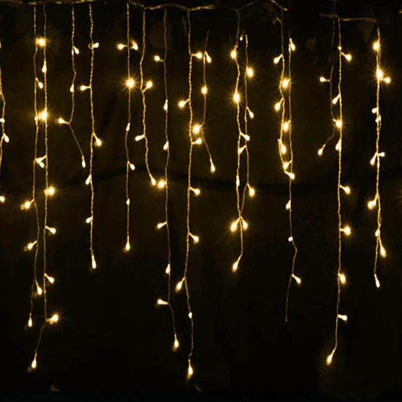 8 Modes - 5 Meter 280 Led Fairy Curtain Lights Power Point , Warm White