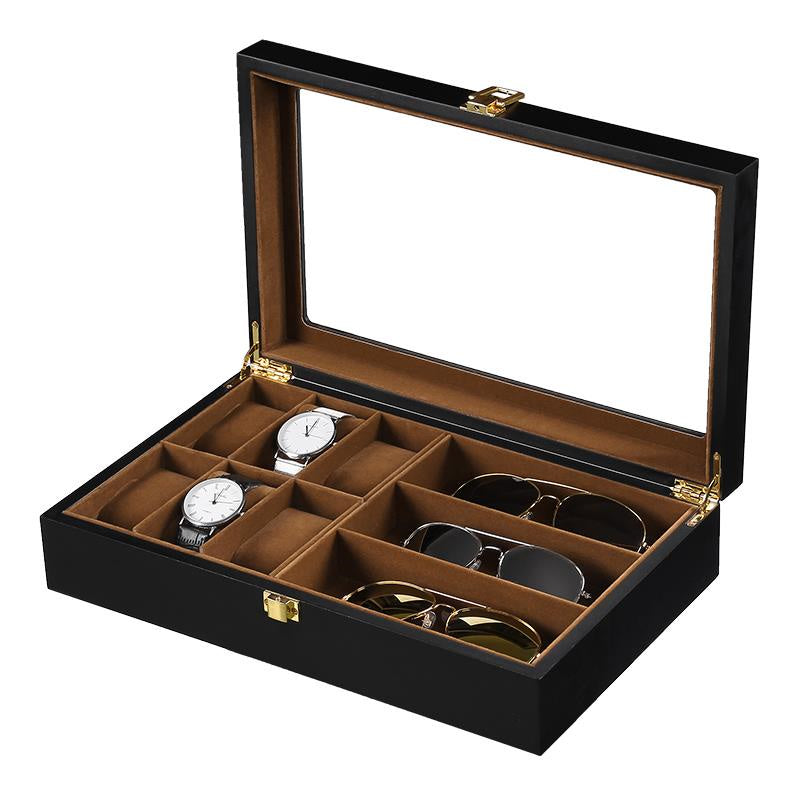 6 Slots Watch + Spectacles Black Matte Wood Storage Box.