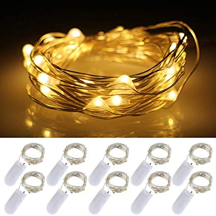 1 Meter 10 Led 2032 Battery Silver Wire , Warm White or Pure White.