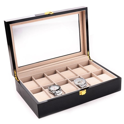 12 Slots Glossy Carbon Fiber Wood Watch Storage Box - Starzdeals