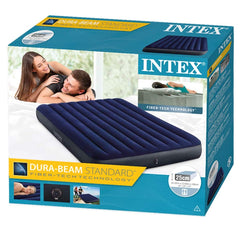 Intex Fiber Tech Dura Beam Super Queen(1.52) Inflatable Air Bed ( Blue ) + Electric Pump - Starzdeals