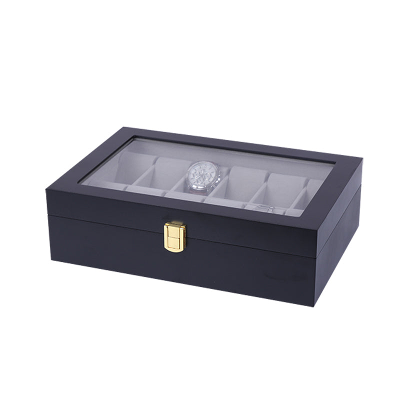12 Slots Black Matte Wood with Inner Gray Watch Storage Box