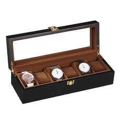 6 Slots Black Matte Wood Inner Brown Watch Storage Box - Starzdeals