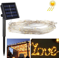 Solar ed Power 8 Modes - 10 Meter 100 Led Silver Wire , Warm White - Starzdeals