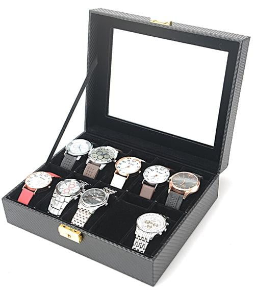 10 Slots Carbon Fiber Full Black Watch Storage Box.