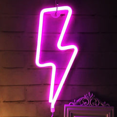 Thunder Neon Light, Powered by USB / Battery Operated, Pink