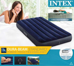 Intex Fiber Tech Dura Beam Super Single (99cm) Inflatable Air Bed Blue + Electric Pump.