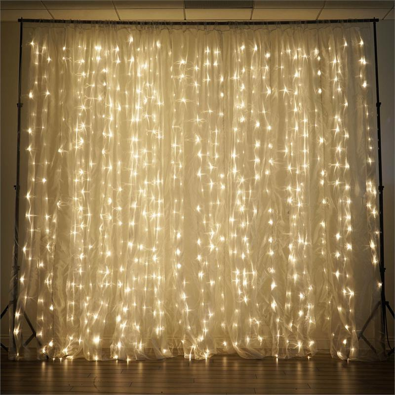 3 Meter x 3 Meter 300 Led Battery Operated Curtain Lights , Warm White