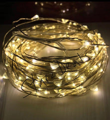 20 Meter 200 Led Copper/Silver Wire Battery Operated , Warm White.