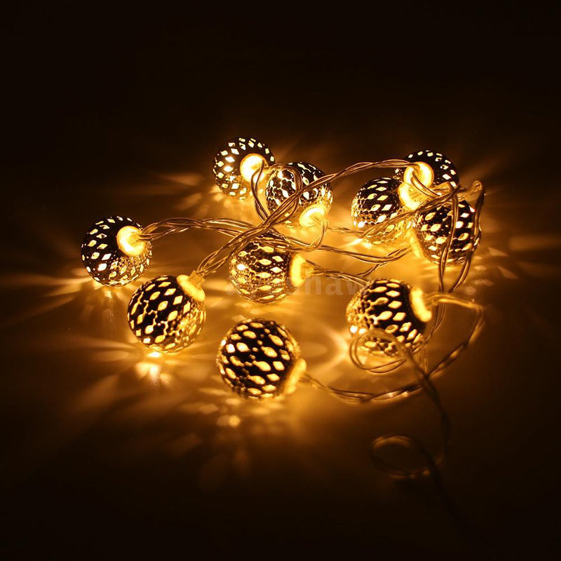Battery Operated - 5 Meter 50 (2.5 cm) Steel Balls Fairy String Light , Warm White