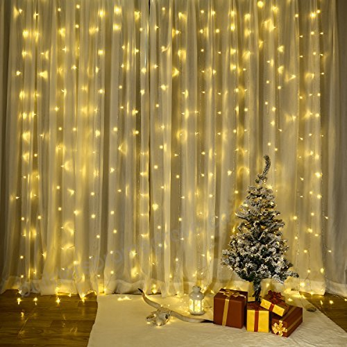8 Modes - 2 Meters x 3 Meters 300 Led Curtain Lights Power Point , Warm White