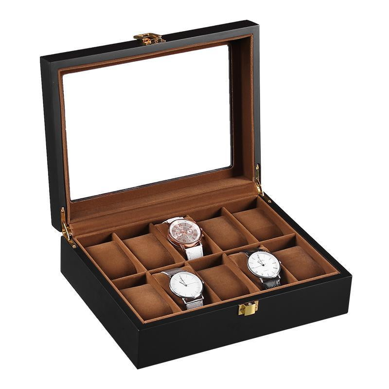 10 Slots Black Matte Wood with Inner Brown Watch Box.