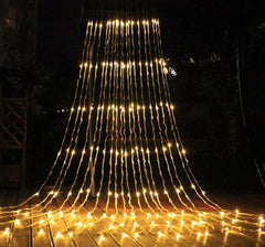 8 Speed - 3 Meter x 3 Meter Meteor Curtain Lights Power Point, Warm White - Starzdeals