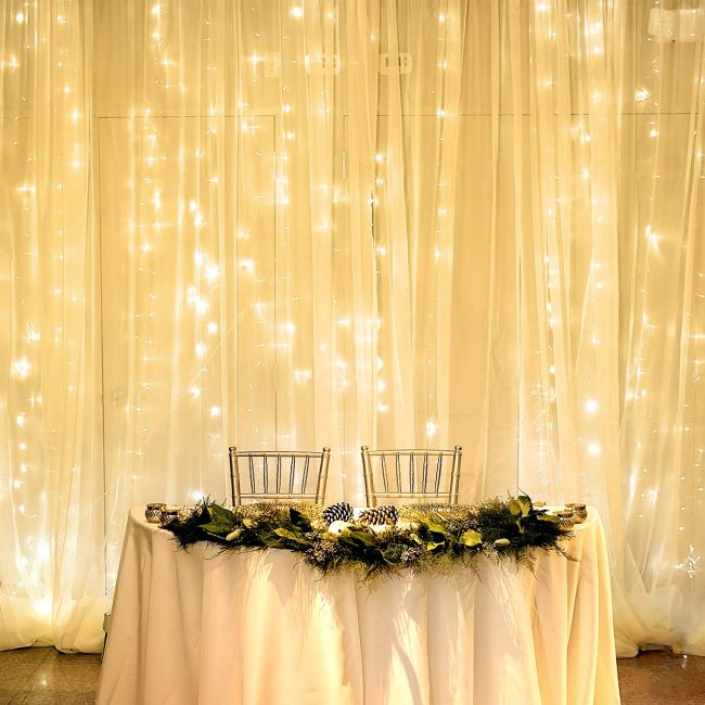 8 Modes - 3 Meter x 2 Meter 240 Led Curtain Light Power Point , Warm White - Starzdeals