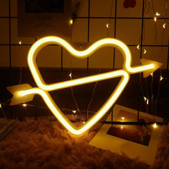 Heart Neon Light, Powered by USB / Battery Operated, Warm White