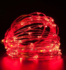 Static Mode - 20 Meters 200 Led USB Silver Wire String Light, Red