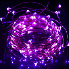 Static Mode - 20 Meters 200 Led USB Silver Wire String Light, Purple