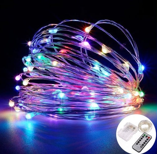 5 Meters 66 Led Battery Operated Silver Wire , 8 Modes + Remote Control, 4 Colors Available - Starzdeals