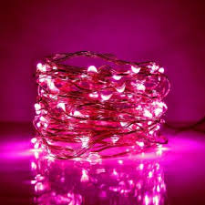 5 Meter 50 Led Battery Operated Copper Wire,Pink