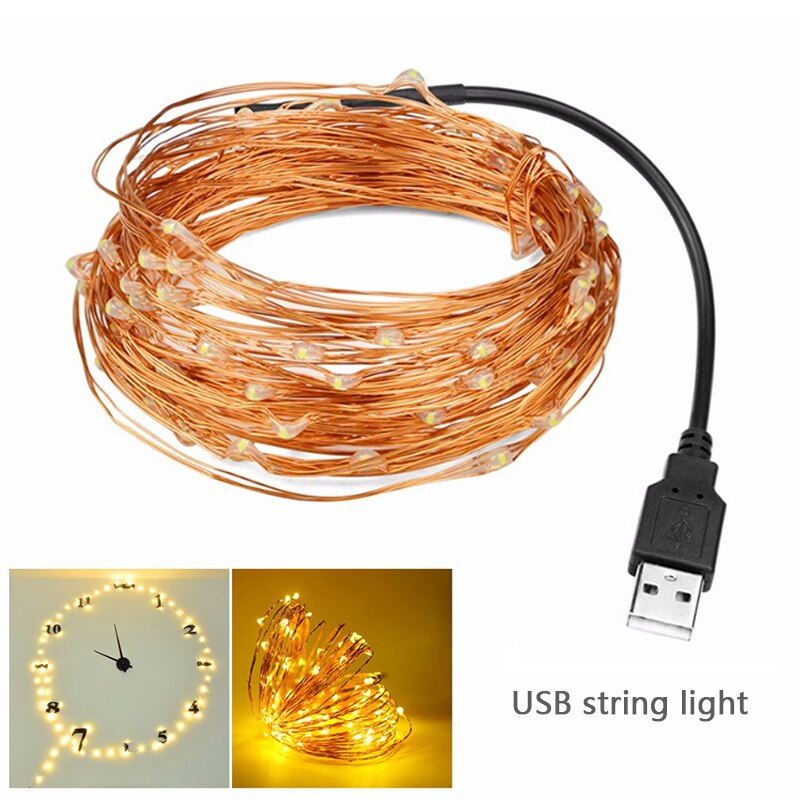 Static Mode - 10 Meters 100 Led USB Copper Wire String Light, Warm White