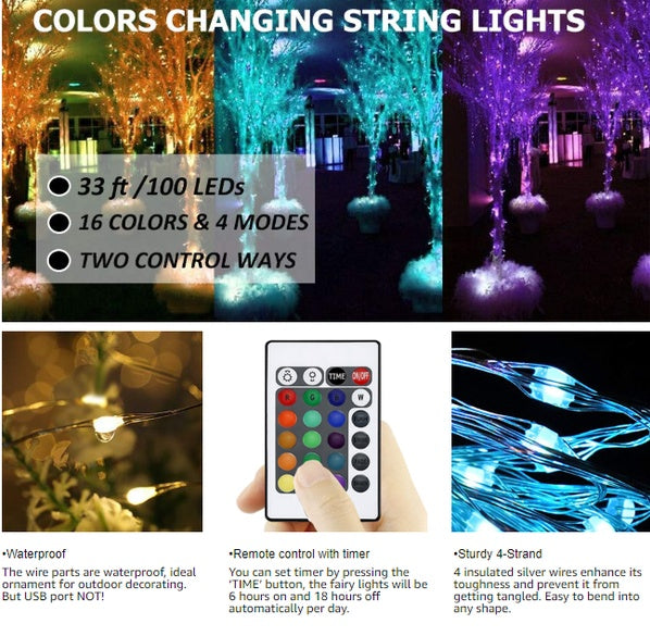 16 Colors - 10 Meter 100 Led RGB Silver Wire USB Operated + Remote Control