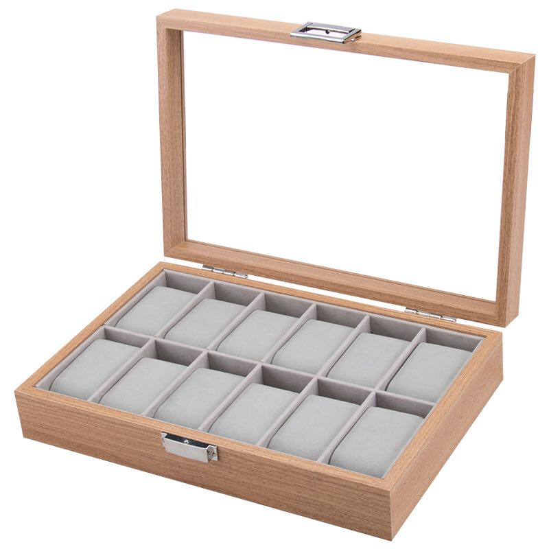 12 Slots Wooden Watch Storage Box