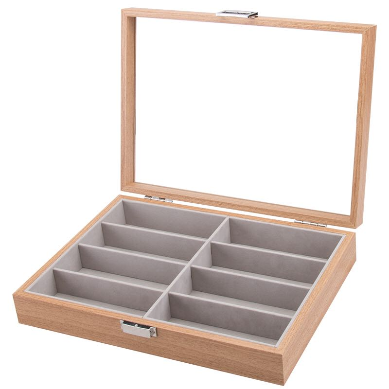 8 Slots Wooden Spectacles Storage Box
