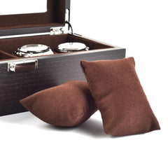 5 Slots Dark Brown Soft Cushions Watch Storage Box