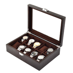 10 Slots Dark Brown Soft Cushions Watch Storage Box.