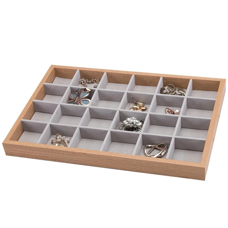 24 Slots Wooden Jewelry Storage Tray