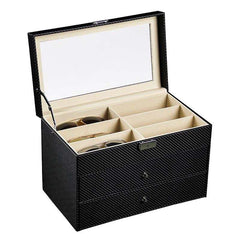 3 Tier Carbon Fiber PVC Spectacles Storage Box