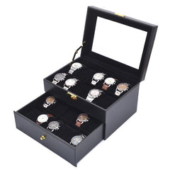 20 Slots Black PVC Inner Black Watch Storage Box