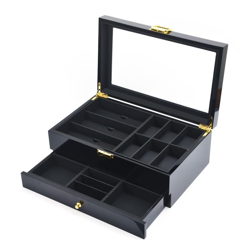 2 Tier Black Wooden Watch + Specs + Jewelry Storage Box