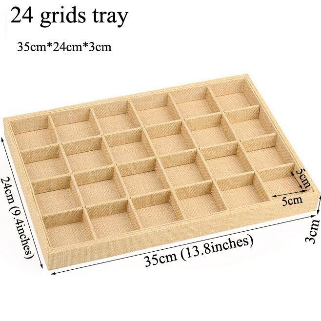 24 Grids Linen Jewelry Display Tray