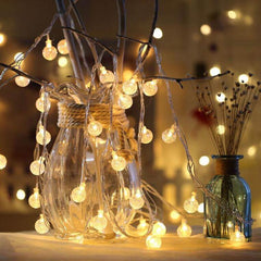 8 Modes - 10 Meter 100 Crystal Ball Fairy String Light Power Point , Warm White - Starzdeals