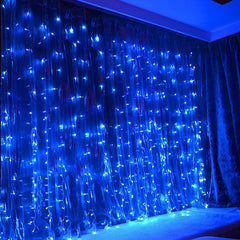 8 Modes - 3 Meter x 3 Meter 300 Led Curtain Lights Power Point , Blue - Starzdeals