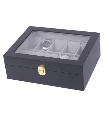 10 Slots Black Matte Wood with Inner Gray Watch Storage Box.