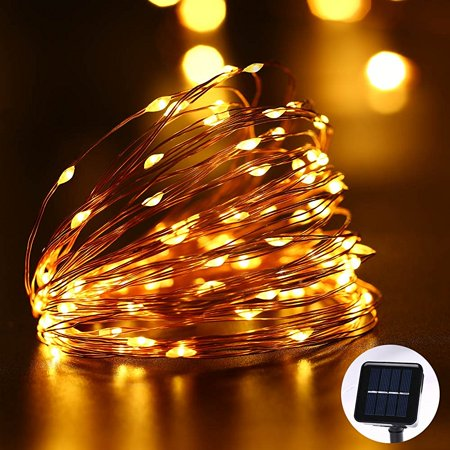 Solar ed Power 8 Modes - 10 Meter 100 Led Copper Wire , Warm White