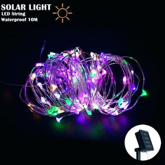 Solar ed Power 8 Modes - 10 Meter 100 Led Silver Wire , Multi