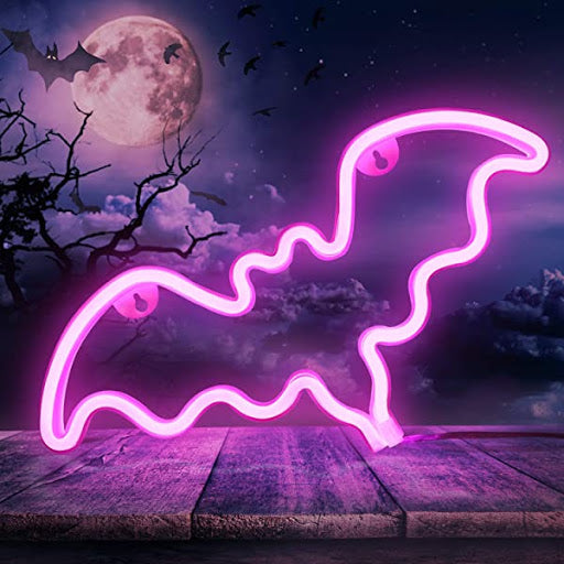 Bat Neon Light, Powered by USB / Battery Operated, Pink