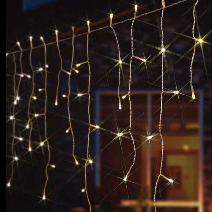 8 Modes - 3 Meter 188 Led Fairy Curtain Lights Power Point, Warm White.