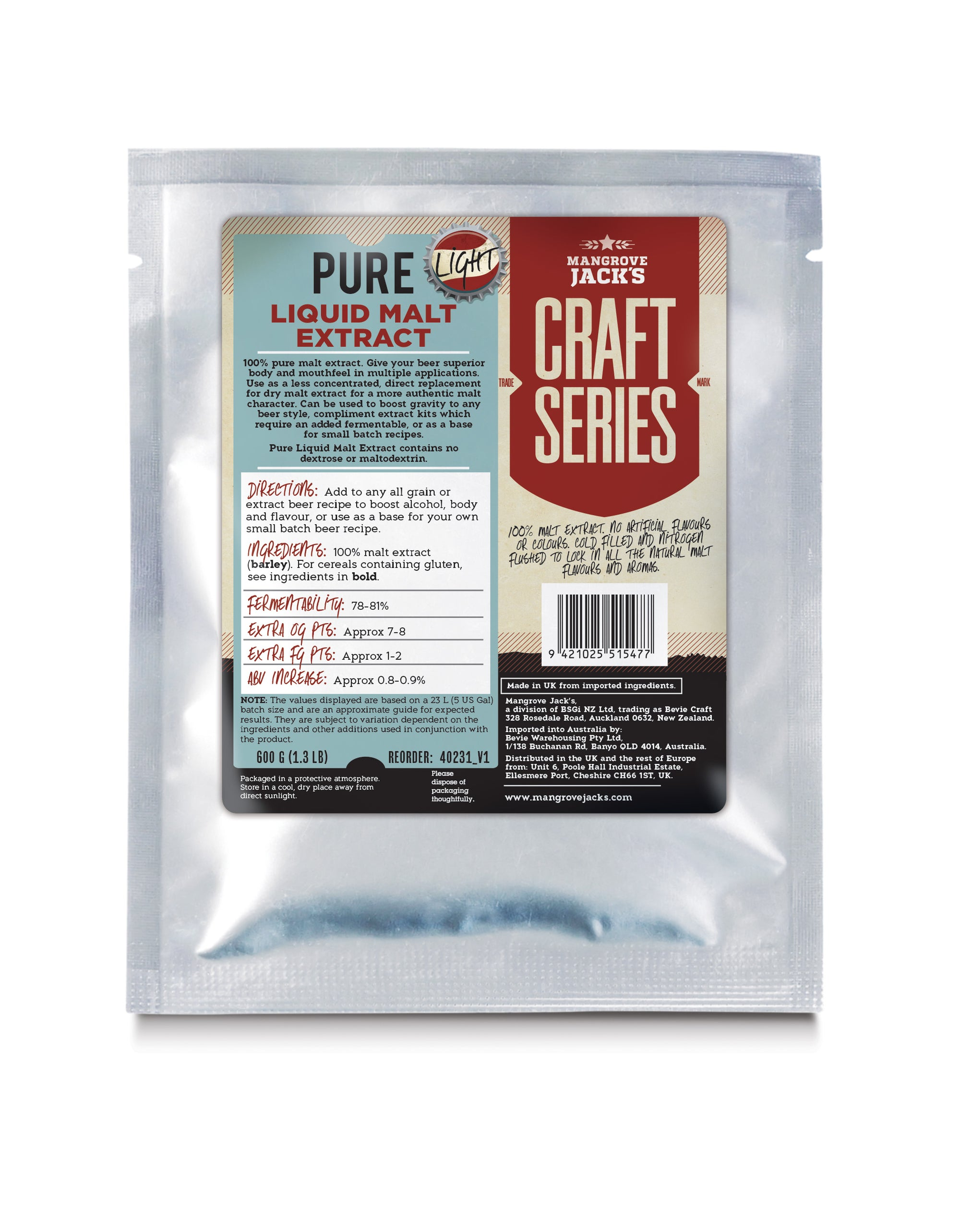 Mangrove Jacks Pure Liquid Malt Extract - Light 600g