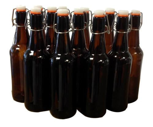 Mangrove Jacks Amber Flip Top Bottles - 500ml x 12