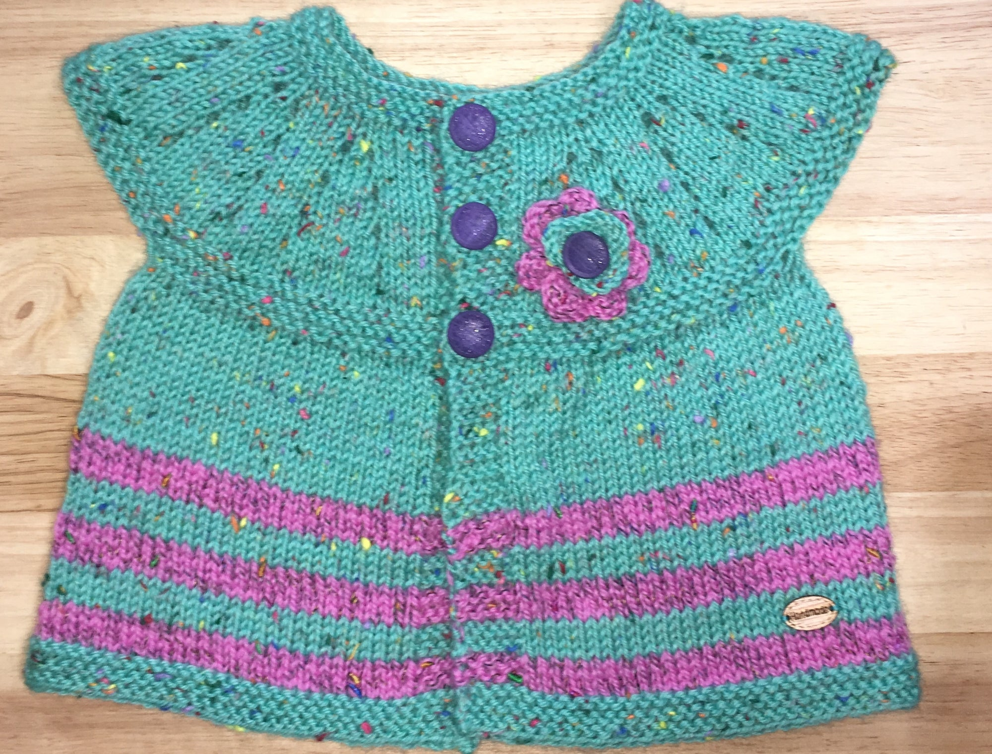 Mint Green & Pink Sleeveless Cardigan - 6 months
