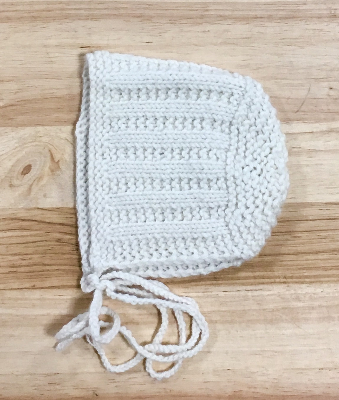 Cream Merino Wool Bonnet - Newborn